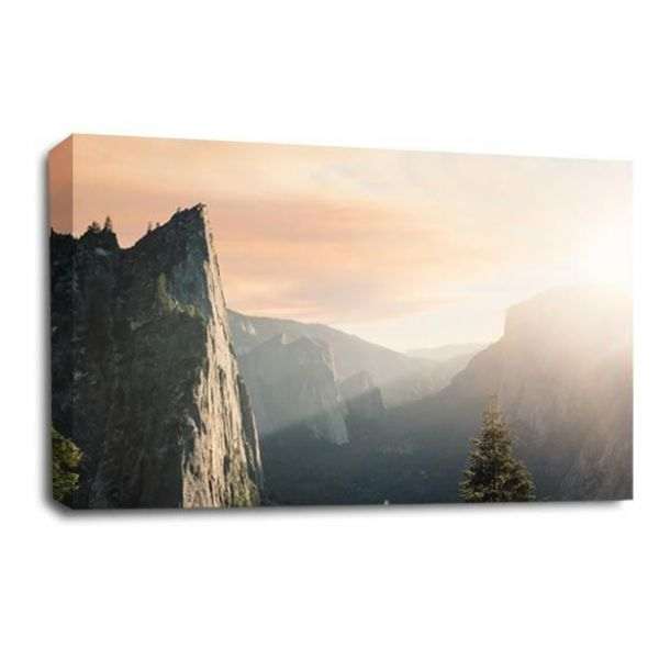 Landscape Mountains Canvas Art Light Forest Wall Picture Print